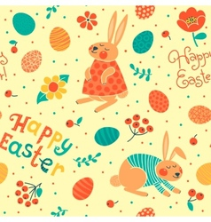 Happy Easter seamless pattern with cute bunnies vector image vector image