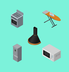 isometric appliance set of microwave stove cloth vector image vector image