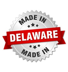 Made in delaware silver badge with red ribbon vector