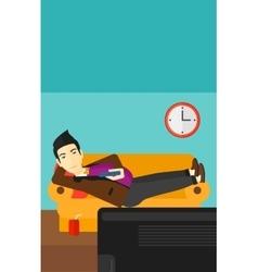 Man lying on sofa vector