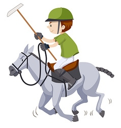 Man on the horse playing polo vector