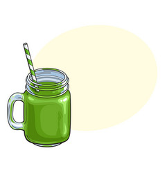 Matcha green tea smoothie in glass jar mug vector