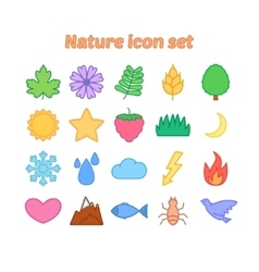 Nature icon set with outline flat environmental vector