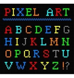Pixel art color font set of letters vector image