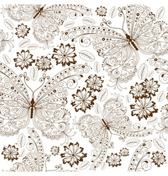 repeating white floral pattern with vintage brown vector image