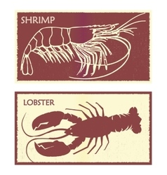 Seafood set lobster and shrimp vector