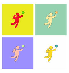 Set icons of vollyball on color background eps-10 vector