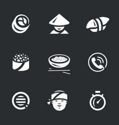 set of sushi service icons vector image vector image