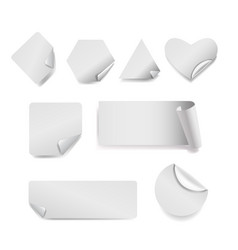 Set of white paper stickers on background vector