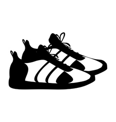 silhouette pair black fitness sneakers design icon vector image