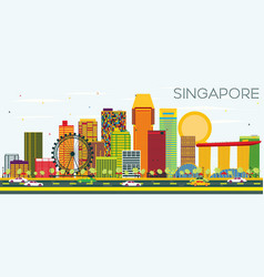 singapore skyline with color buildings and blue vector image