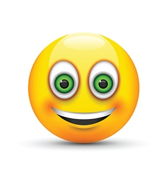 Smiling emoji big realistic green eyes vector