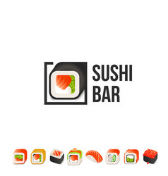Sushi and roll logo template japanese vector