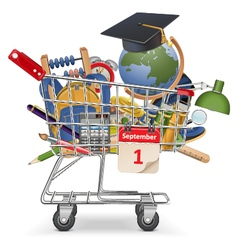 Trolley with school supplies vector