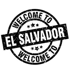 Welcome to el salvador black stamp vector