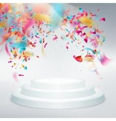 Winner podium confetti with light rays EPS 10 vector image