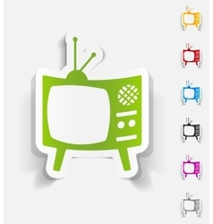 Realistic design element old tv vector