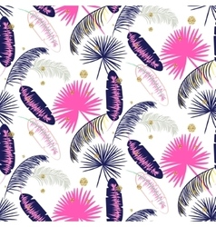 Pink and blue banana palm leaves seamless vector