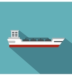 Oil tanker ship icon flat style vector