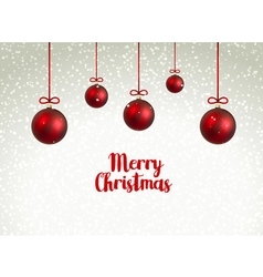 Merry Christmas red Balls xmas decoration with vector image