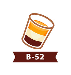 Layered cocktail b-52 from three liqueurs vector