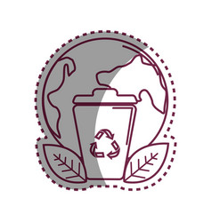 sticker planet and can trash with recycling symbol vector image