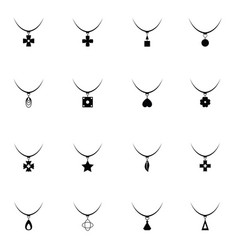 necklace icon set vector image