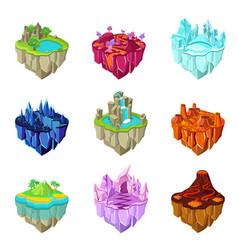 isometric game islands set vector image