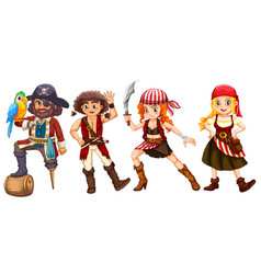Pirate crews on white background vector