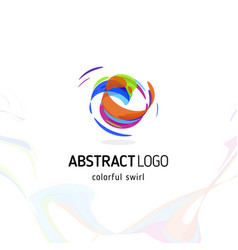 Colorful twisting swirl abstract logo curled vector