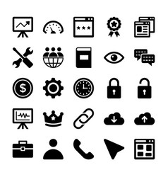 Seo and digital marketing glyph icons 5 vector