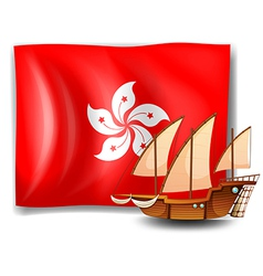 The flag of hongkong with a ship vector