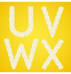 Letters uvwx composed from daisy flowers complete vector