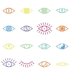 Set of various color eye icons on white background vector