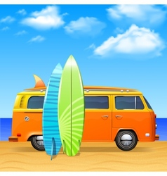 Bus with surf boards vector