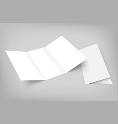Blank tri fold mockup on gray vector