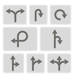 Monochrome icons with direction arrow vector