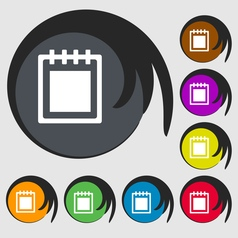 Notepad icon sign symbol on eight colored buttons vector