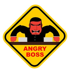 Danger angry boss aggressive head screams red vector