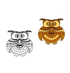 Cartoon outline and brown owl bird vector