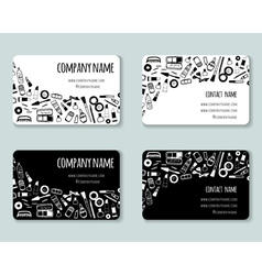 Business creative cards template with beauty items vector