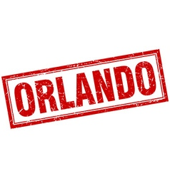 Orlando red square grunge stamp on white vector