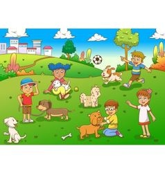 child and pet cartoon vector image