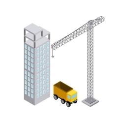 Crane building truck icon isometric design vector