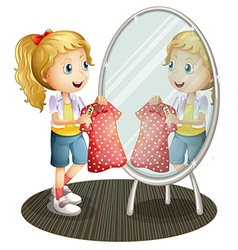 A girl holding a red dress in front of the mirror vector image vector image
