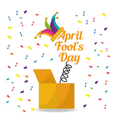April fools day surprise box with jester hat vector