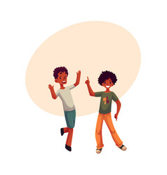 Black african american boys kids having fun vector