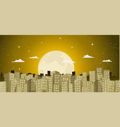 buildings background in a golden moonlight vector image vector image