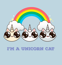 cats with a horn on the background of the rainbow vector image vector image