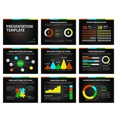 Colorful graphs and presentation graphics on black vector